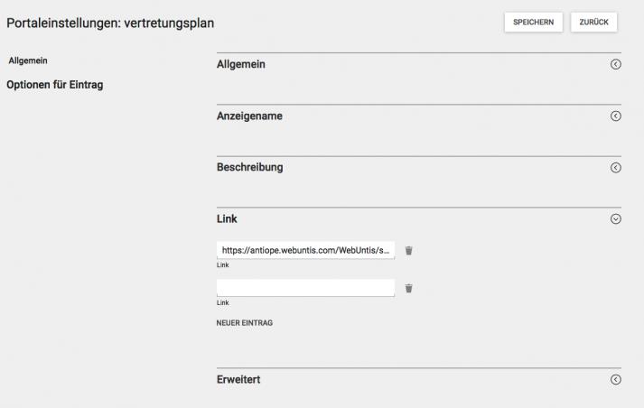 Screenshot WebUntis Portaleinstellungen Vertretungsplan in WebUntis - 2