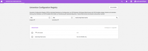 Screenshot der Univention Configuration Registry in UCS 4.3