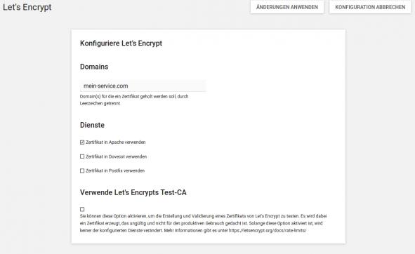 Screenshot zur Konfiguration der UCS App Lets_Encrypt