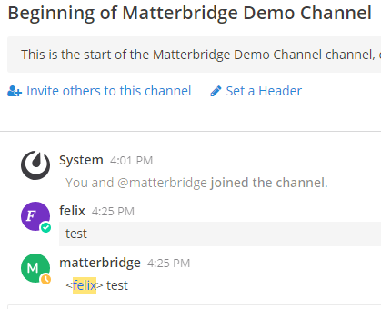 Screenshot Matterbridge Demo Channel