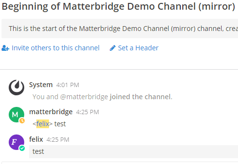Screenshot Matterbrdige Demo channel (mirror)