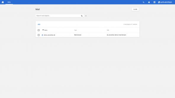 Screenshot of the e-mail module in UCS