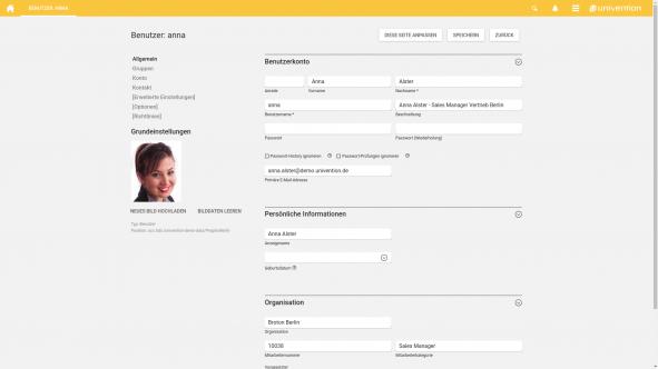 Screenshot in UCS: E-Mail Vergabe für Benutzer Anna