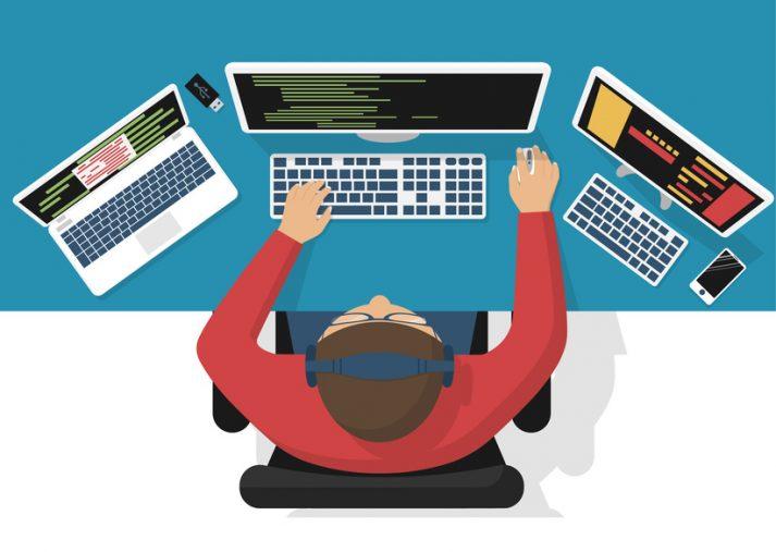 Programmer at computer, vector
