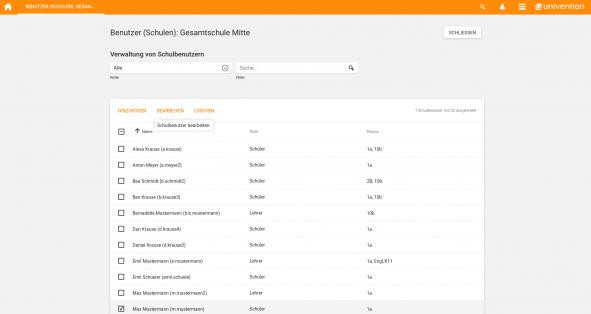 Modul Benutzer Schulen Screenshot