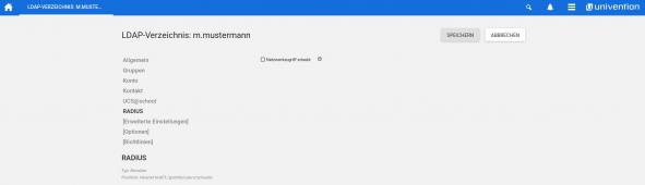 Screenshot über die Radius Einstellung im LDAP für einen Nutzer in UCS