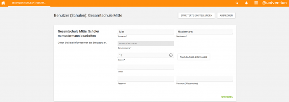 Screenshot UCS@school Modul Benutzer (Schulen)