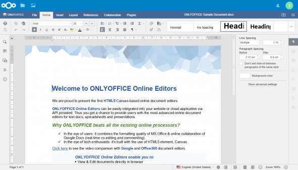 Screenshot of ONLYOFFICE