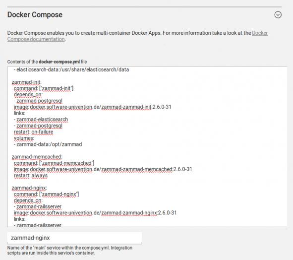 Screenshot einer Docker Compose Konfiguration am Beispiel der App Zammad