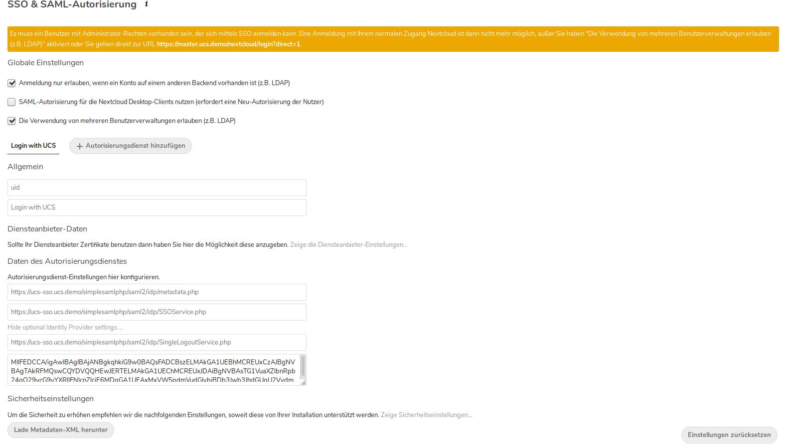 SSO Nextcloud und SAML Autorisierung