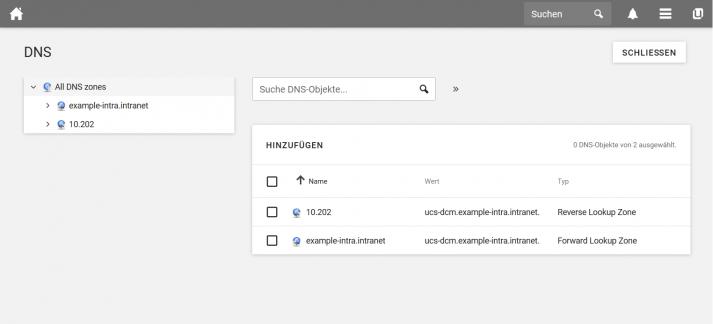 Screenshot UCS 4.4: DNS