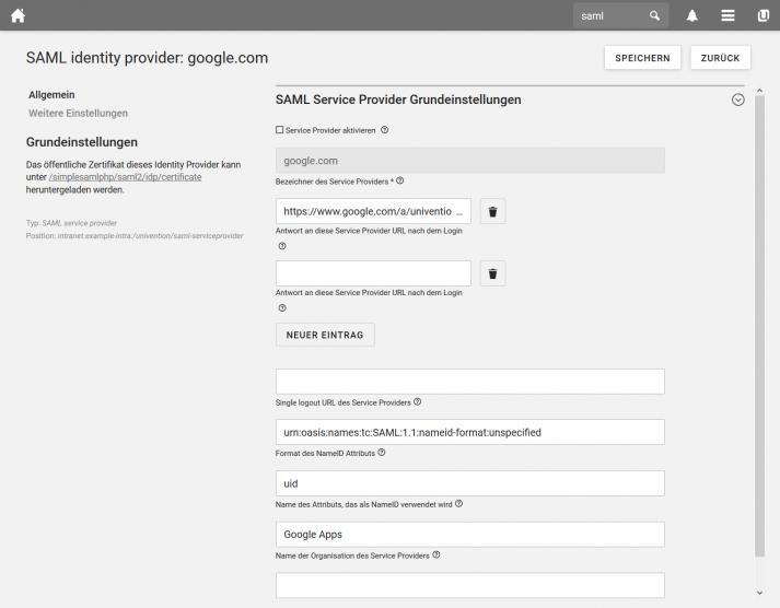 Screenshot UCS 4.4: UCS UMC SAML Identiy Provider