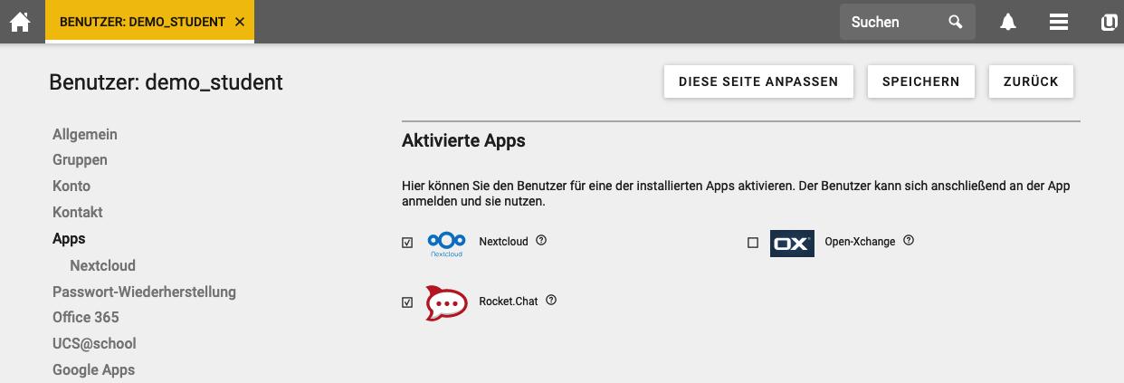 UCS@school Neuerungen Apps