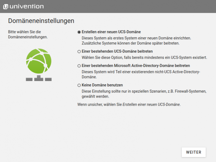 Screenshot: Installer domainrole - Domäneneinstellungen in UCS 4.4
