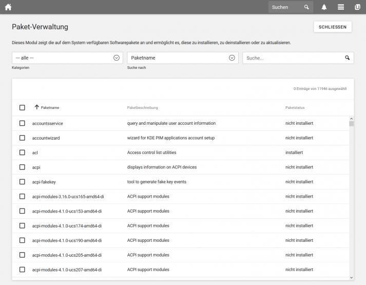 Screenshot UCS 4.4: Paket-Verwaltung