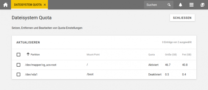 Screenshot UCS 4.4: Dateisystem Quota