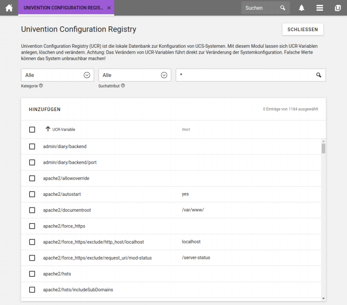Screenshot UCS 4.4: Univention Configuration Registry