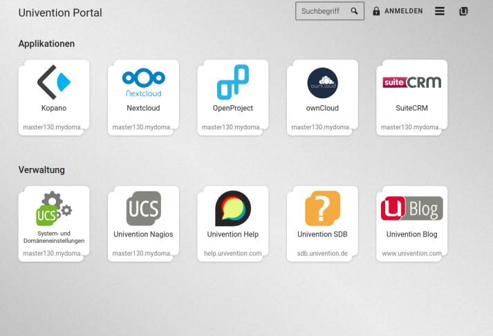 Screenshot: UCS 4.4 Portal mit App Kacheln von Kopano, Nextcloud, Owncloud und vielen weiteren