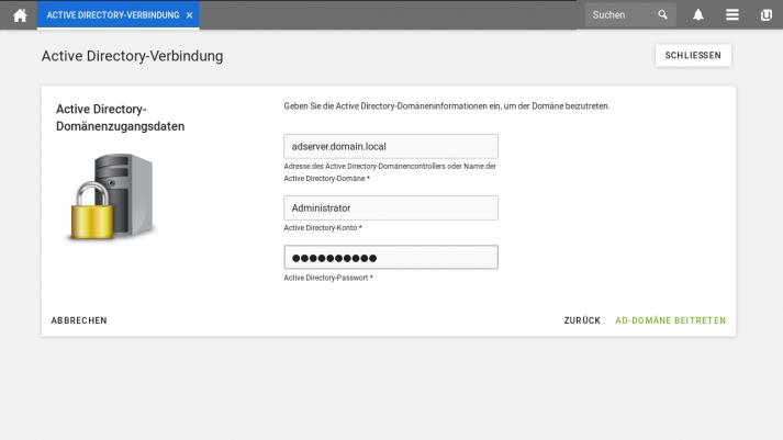 UCS 4.4 Screenshot: Active Directory Domaenenzugangsdaten