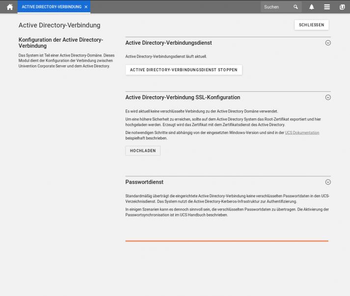 UCS 4.4 Screenshot: Active Directory Konfiguration Verbindungsdienst