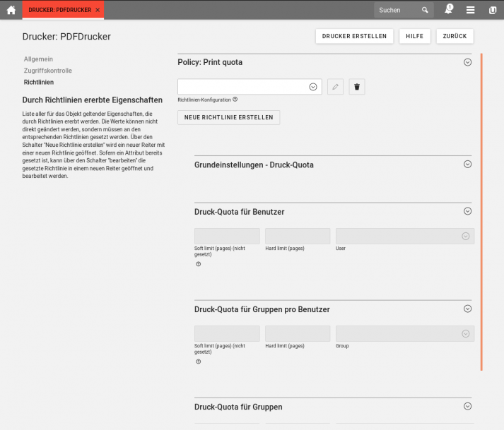 UCS 4.4 Screenshot: PDFDrucker Drucker Quota