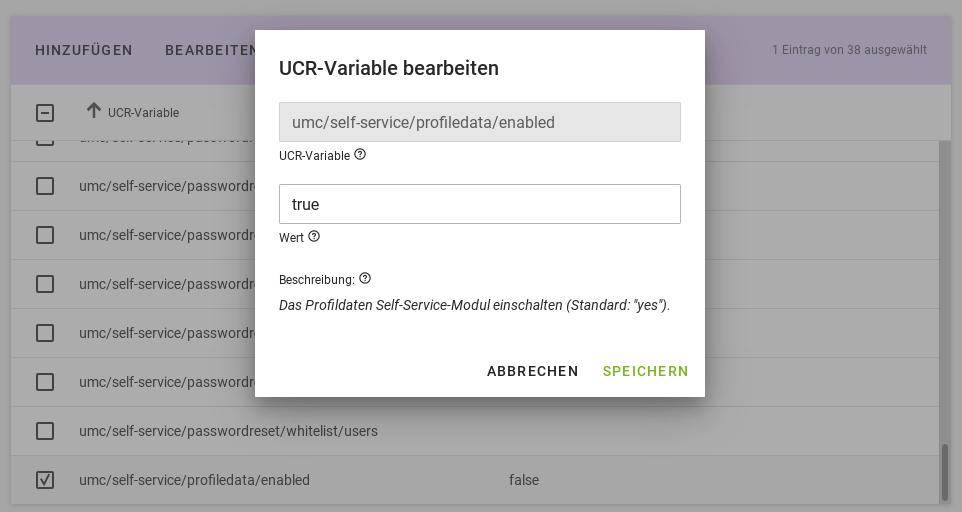 Self Service über UCR-Variablen einrichten