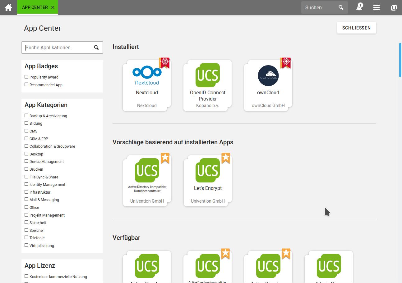 UCS 4.4-1: neues App-Vorschlagssystem