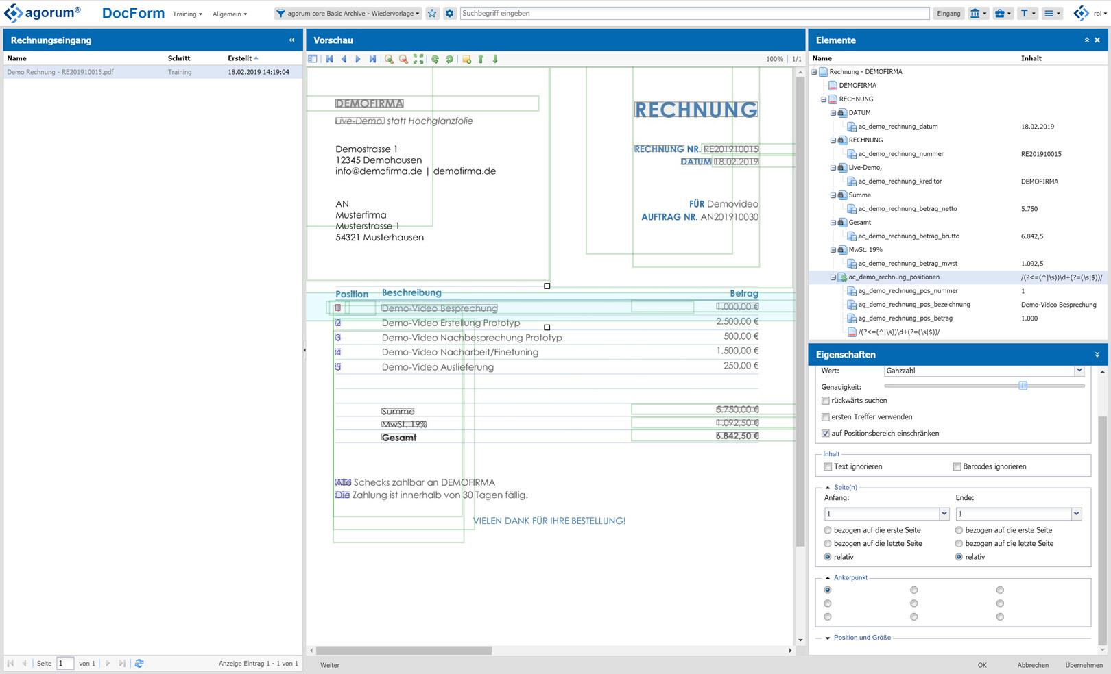 Screenshot: agorum core docform