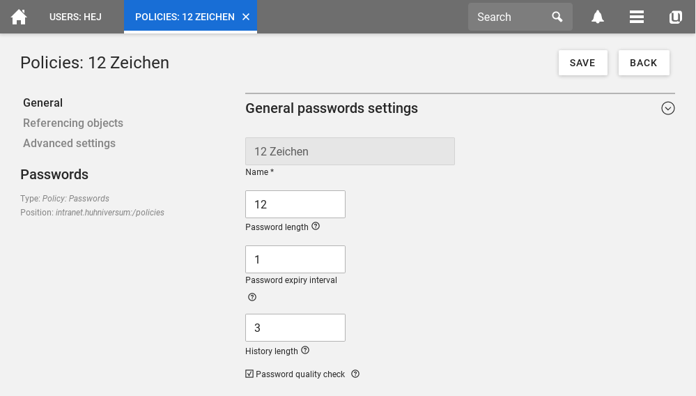 Setting password policies in UCS