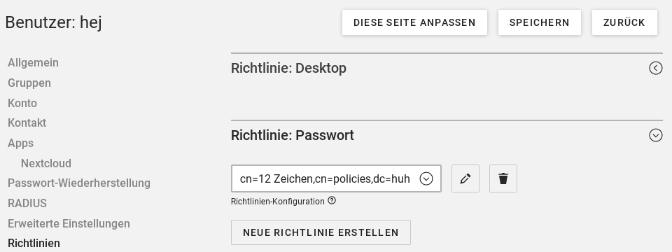 Benutzer Richtlinie einstellen