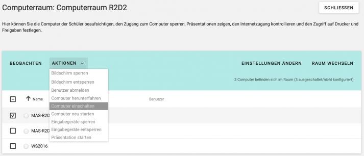 Computerraum- und Laptopklassensteuerung UCS school Screenshot 4.4 v4