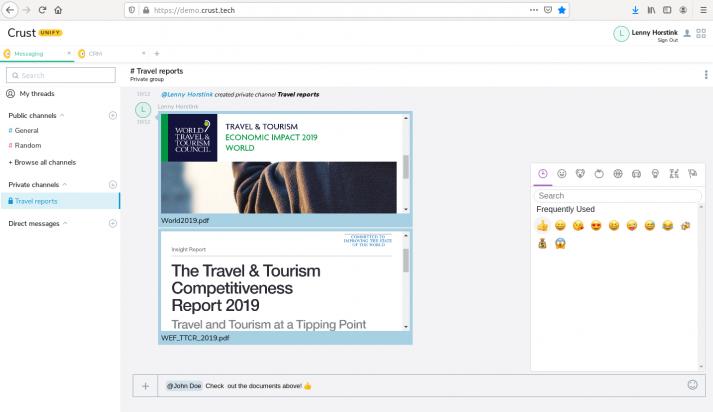 Screenshot: crust chat interface