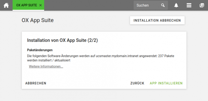 Screenshot: UCS 4.4-4 - App Center Dialog