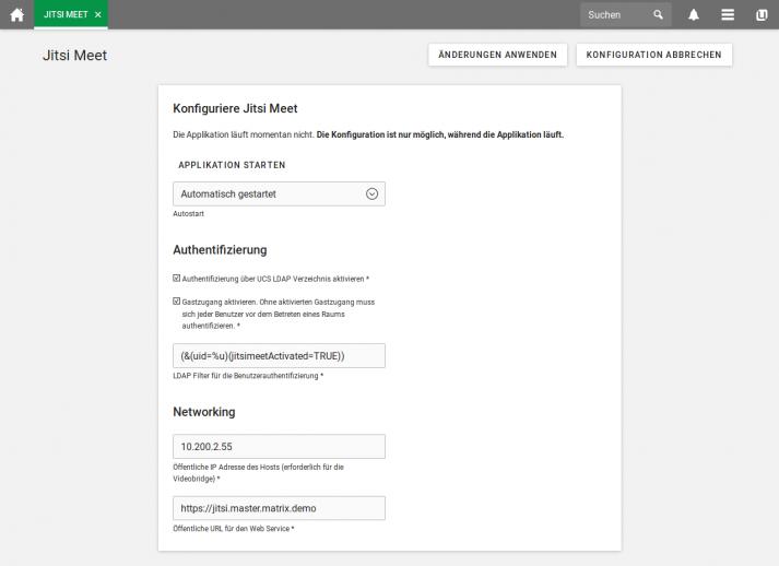 Screenshot: Jitsi Meet in UCS - Konfiguration