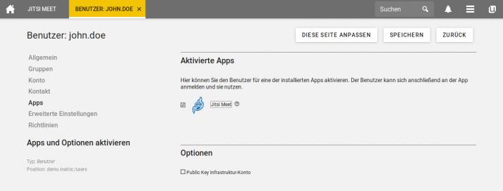 Screenshot: Jitsi Meet in UCS - App aktivieren