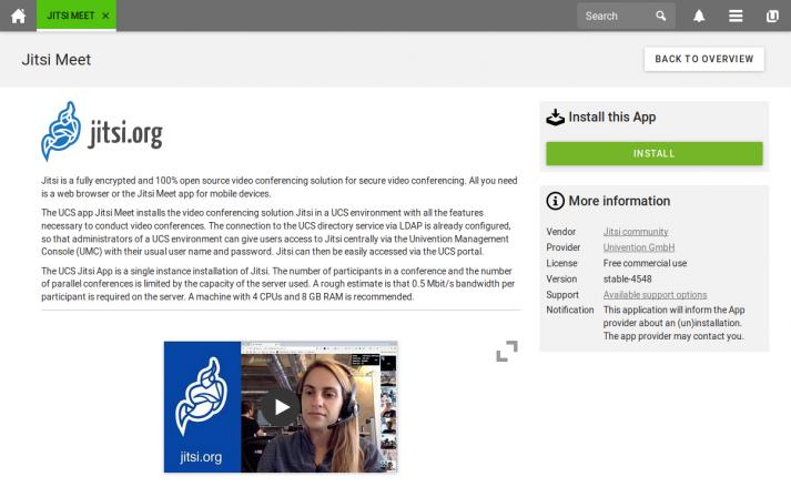 Screenshot: Jitsi Meet Univention App Center