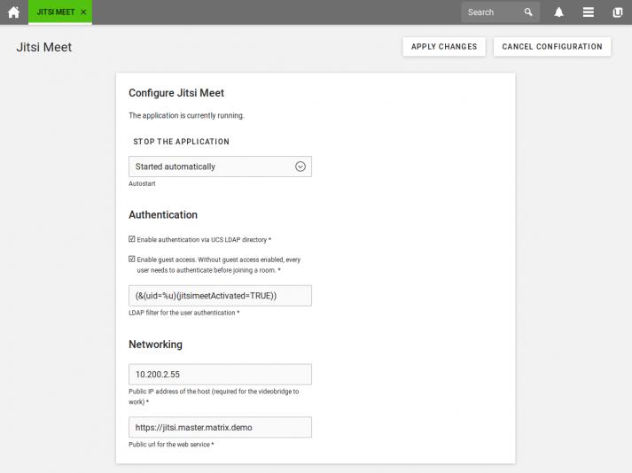 Screenshot: Jitsi Meet Univention App Center - Access Control