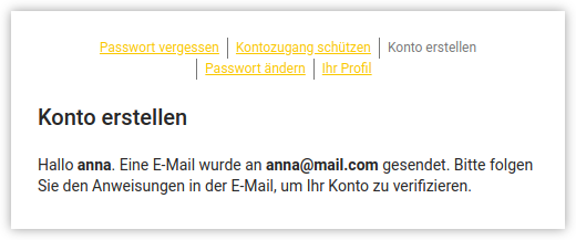 Screenshot von User Self Service Email zur Verification in UCS