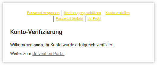 Screenhot der Verification-Nachticht in UCS - Users self service