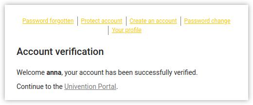 screenshot of UCs users self service verification message