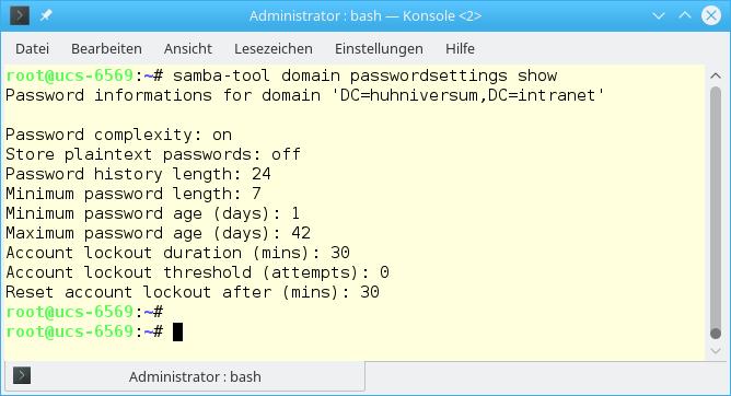 Screenshot: Kommando samba tool domain passwordsettings