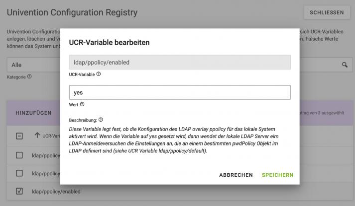 Screenshot: UCR-Variable anpassen; OpenLDAP für automatische Kontosperrung in UCS
