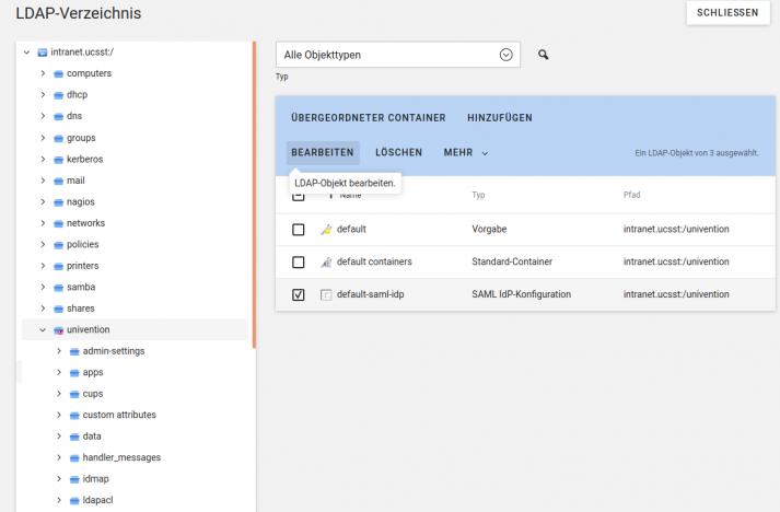 Screenshot: UCS Webuntis LDAP Verzeichnis SAML IDP