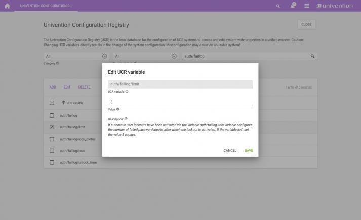 Screenshot: UCS auth faillog limit UCR variable