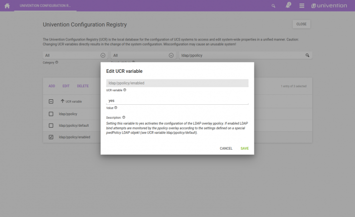 Screenshot: UCS ldap policy enabled