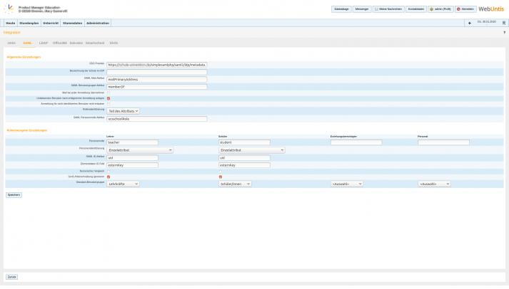Interface: WebUntis Intregration SAML Änderungen