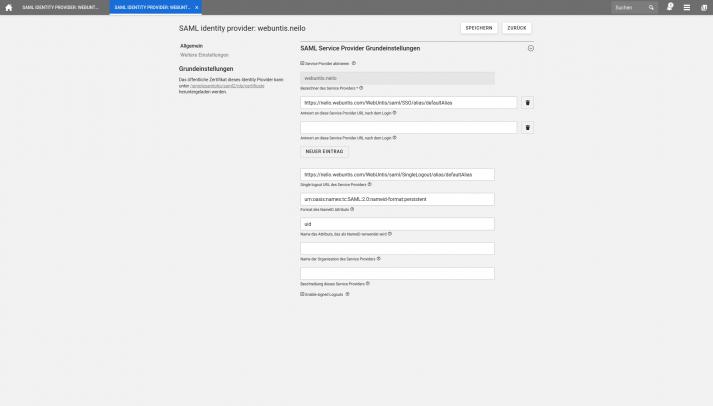 Screenshot: Webuntis SAML IDP Allemein