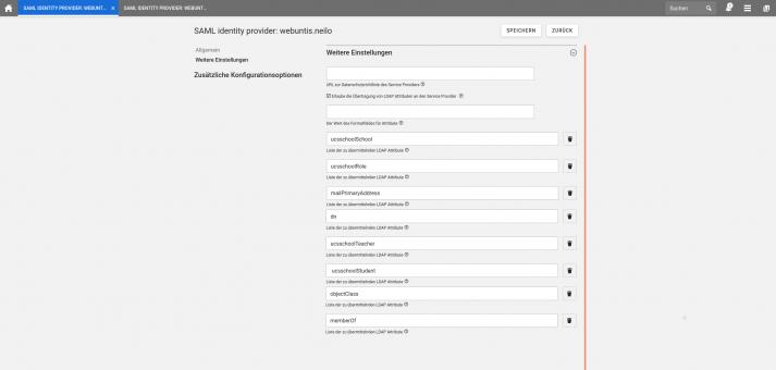 Screenshot: Webuntis SAML IDP erweitert