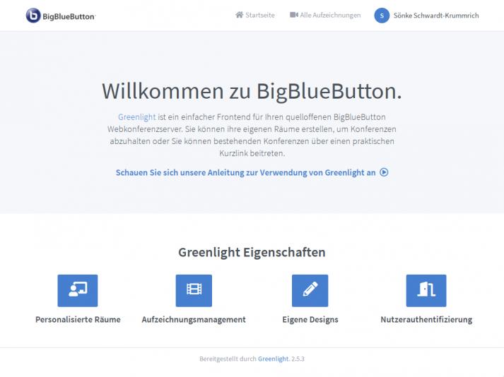 Screenshot: BBB-Startscreen Greenlight