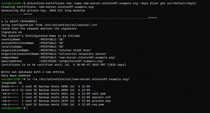Screenshot: Create Cert CLI